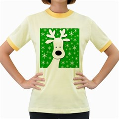 Christmas reindeer - green Women s Fitted Ringer T-Shirts
