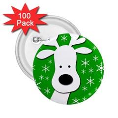 Christmas reindeer - green 2.25  Buttons (100 pack)