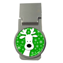 Christmas reindeer - green Money Clips (Round)