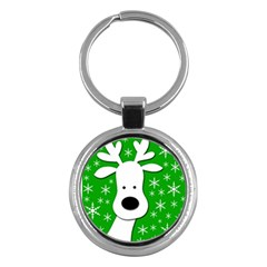 Christmas reindeer - green Key Chains (Round)