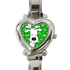 Christmas reindeer - green Heart Italian Charm Watch