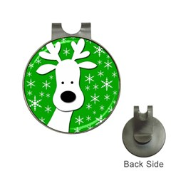 Christmas reindeer - green Hat Clips with Golf Markers