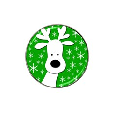 Christmas reindeer - green Hat Clip Ball Marker