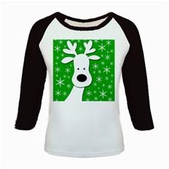 Christmas reindeer - green Kids Baseball Jerseys