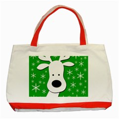 Christmas reindeer - green Classic Tote Bag (Red)