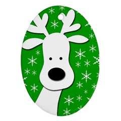 Christmas reindeer - green Oval Ornament (Two Sides)
