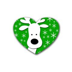 Christmas reindeer - green Rubber Coaster (Heart)