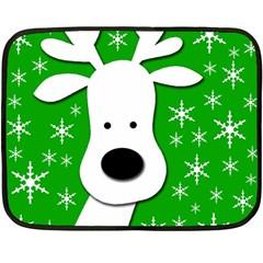 Christmas reindeer - green Fleece Blanket (Mini)