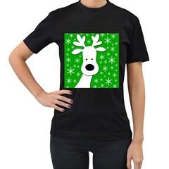 Christmas reindeer - green Women s T-Shirt (Black)