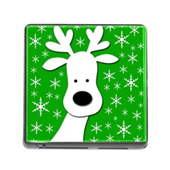 Christmas reindeer - green Memory Card Reader (Square)