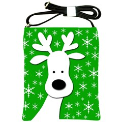 Christmas reindeer - green Shoulder Sling Bags