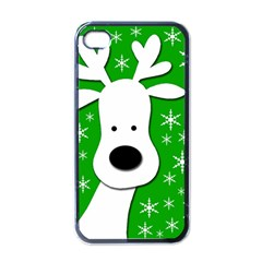 Christmas reindeer - green Apple iPhone 4 Case (Black)