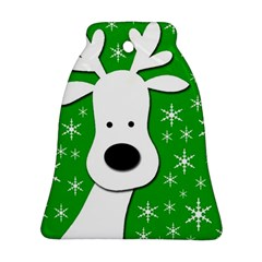 Christmas reindeer - green Bell Ornament (2 Sides)
