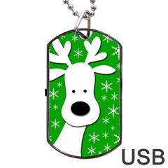 Christmas reindeer - green Dog Tag USB Flash (Two Sides)