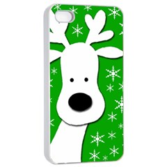 Christmas reindeer - green Apple iPhone 4/4s Seamless Case (White)