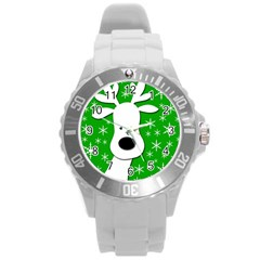 Christmas reindeer - green Round Plastic Sport Watch (L)