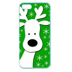 Christmas reindeer - green Apple Seamless iPhone 5 Case (Color)
