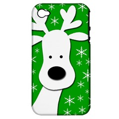 Christmas reindeer - green Apple iPhone 4/4S Hardshell Case (PC+Silicone)