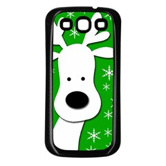 Christmas reindeer - green Samsung Galaxy S3 Back Case (Black)