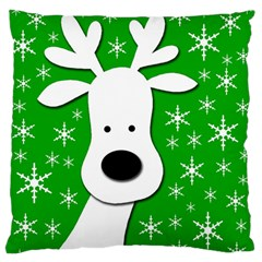 Christmas reindeer - green Large Flano Cushion Case (One Side)