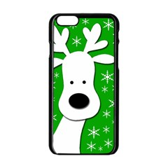Christmas reindeer - green Apple iPhone 6/6S Black Enamel Case