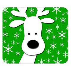 Christmas reindeer - green Double Sided Flano Blanket (Small)