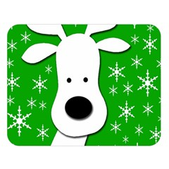 Christmas reindeer - green Double Sided Flano Blanket (Large)