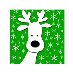 Christmas reindeer - green Small Satin Scarf (Square)