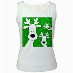 Christmas reindeer - green 2 Women s White Tank Top