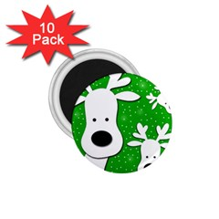 Christmas reindeer - green 2 1.75  Magnets (10 pack)