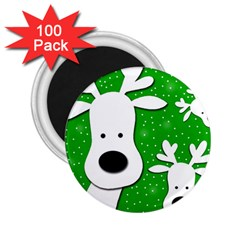 Christmas reindeer - green 2 2.25  Magnets (100 pack)
