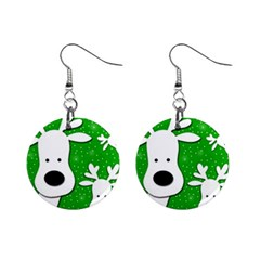 Christmas reindeer - green 2 Mini Button Earrings