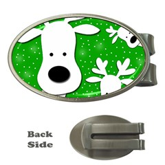Christmas reindeer - green 2 Money Clips (Oval)