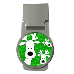 Christmas reindeer - green 2 Money Clips (Round)