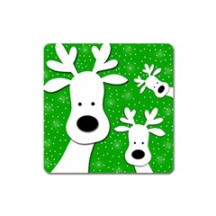 Christmas Reindeer   Green 2 Square Magnet