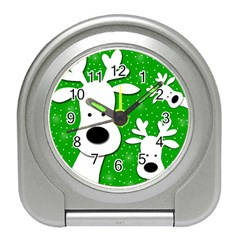 Christmas reindeer - green 2 Travel Alarm Clocks