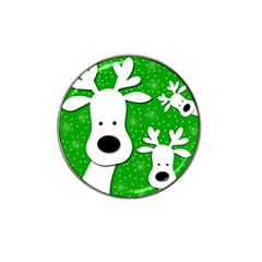 Christmas reindeer - green 2 Hat Clip Ball Marker (4 pack)