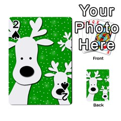 Christmas reindeer - green 2 Playing Cards 54 Designs