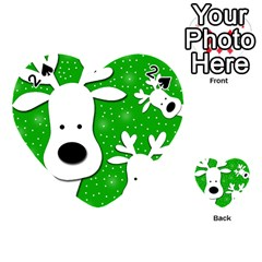 Christmas reindeer - green 2 Playing Cards 54 (Heart)