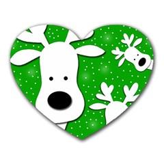 Christmas reindeer - green 2 Heart Mousepads