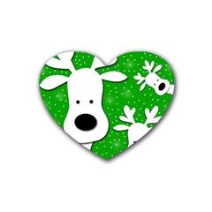 Christmas reindeer - green 2 Rubber Coaster (Heart)