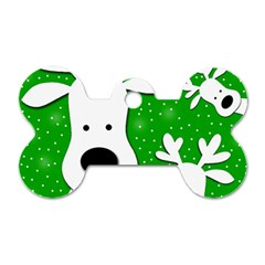 Christmas reindeer - green 2 Dog Tag Bone (Two Sides)