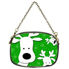 Christmas reindeer - green 2 Chain Purses (One Side)