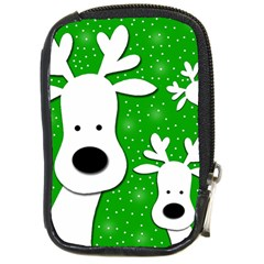 Christmas reindeer - green 2 Compact Camera Cases