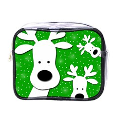 Christmas reindeer - green 2 Mini Toiletries Bags
