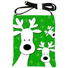 Christmas reindeer - green 2 Shoulder Sling Bags