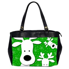 Christmas reindeer - green 2 Office Handbags (2 Sides)