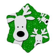 Christmas reindeer - green 2 Ornament (Snowflake)