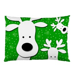 Christmas reindeer - green 2 Pillow Case (Two Sides)