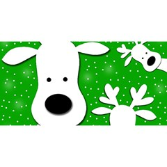 Christmas reindeer - green 2 YOU ARE INVITED 3D Greeting Card (8x4)